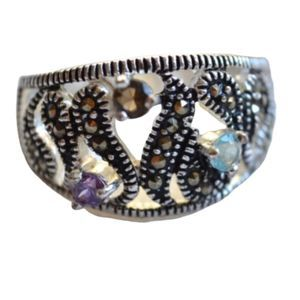 New Silver Plate Colored Crystal Marcasite Ring